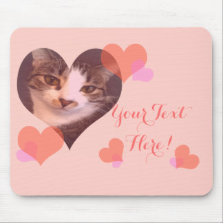 Personalized Pink Hearts Valentine Mouse Pad