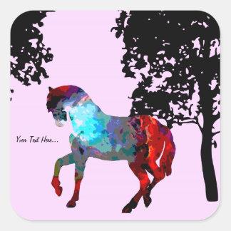 personalized Pink Horse Design Square Sticker