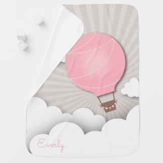Personalized Pink Hot Air Balloon Baby Blanket