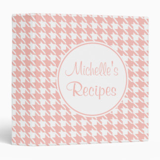 Personalized Pink Houndstooth Recipe Binder