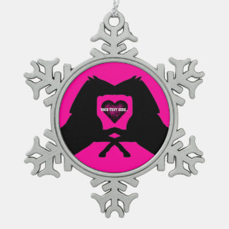 Personalized Pink Kissing Horses Snowflake Pewter Christmas Ornament