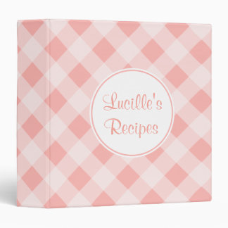 Personalized Pink Kitchen Gingham Recipe Binder