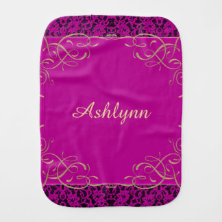 Personalized Pink Lace Trim Baby Cloth