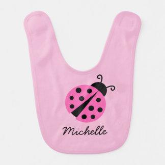Personalized pink ladybug baby bib for girl