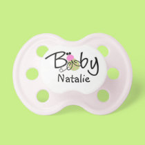 Personalized Pink Ladybug Baby Pacifier