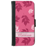 Personalized Pink Leaf Pattern Custom Name