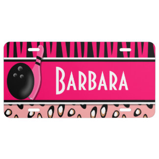 Personalized Pink Leopard and Zebra Print Bowling License Plate