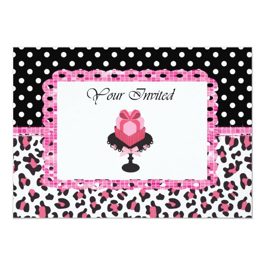 Personalized Pink Leopard Bling Cupcake Invitation