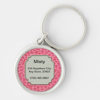 Personalized Pink Leopard Skin Pet ID Tag Silver-Colored Round Keychain
