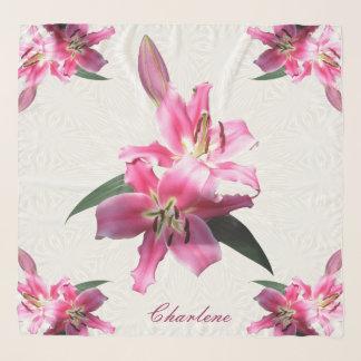 Personalized Pink Lilies Square Chiffon Scarf