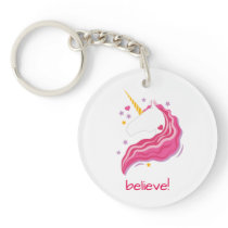 Personalized Pink Magical Unicorn Keychain