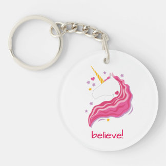 Personalized Pink Magical Unicorn Keychain