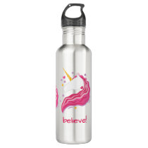 Personalized Pink Magical Unicorn Stainless Steel Water Bottle