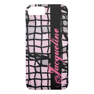 Personalized Pink Messy Mosaic Monogrammed iPhone 7 Case