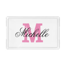 Personalized pink monogram acrylic serving tray