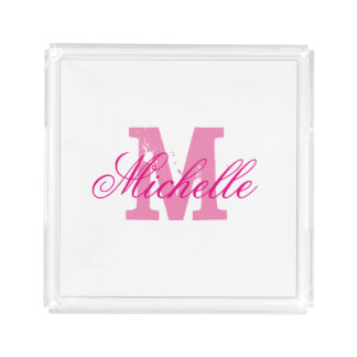 Personalized pink monogram transparent vanity tray square serving trays