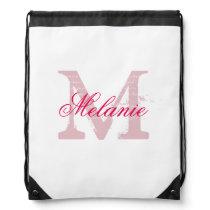 Personalized pink monogram wedding drawstring bag