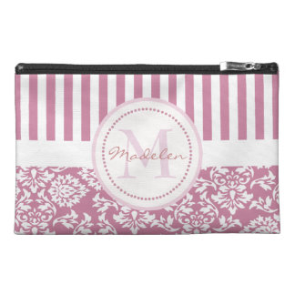 Personalized pink name initial monogram travel accessory bag