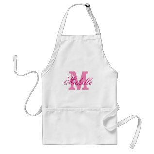 Personalized pink name monogram apron for women at Zazzle