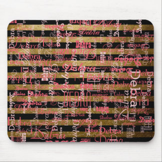 personalized pink names striped mouse pad