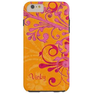 Personalized Pink Orange Floral Tough iPhone 6 Plus Case