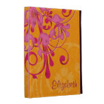 Personalized Pink Orange Floral iPad Folio Case