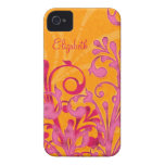 Personalized Pink Orange Floral iPhone 4 Case