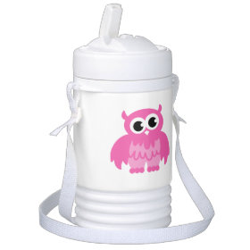 Personalized pink owl beverage cooler for kids igloo beverage cooler