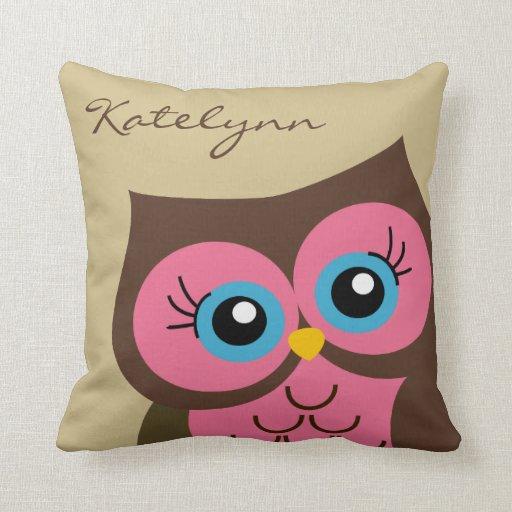 Personalized Pink Owl Custom Throw Pillow Zazzle