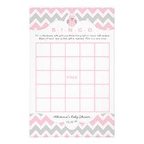 Personalized Pink owl girl baby shower games bingo Flyer