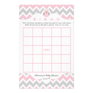 Personalized Pink owl girl baby shower games bingo Flyer
