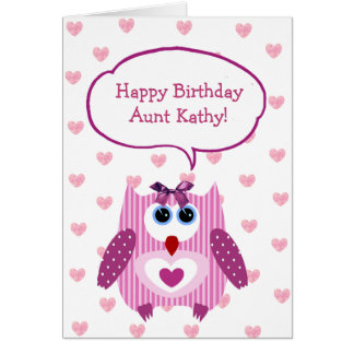 Personalized Pink Owl Happy Birthday Card for Aunt