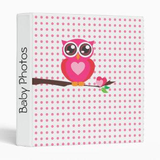 Personalized,Pink Owl,Polka Dots Pattern Binder