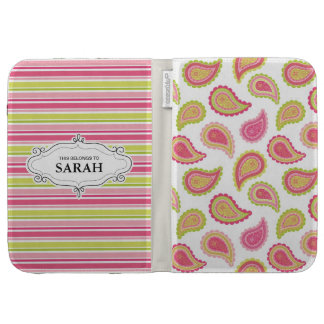Personalized Pink Paisley Kindle Case Cover