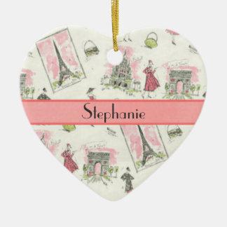 Personalized Pink Parisian Ceramic Ornament