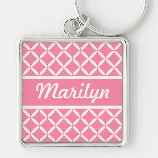 Personalized Pink Pattern Keychain