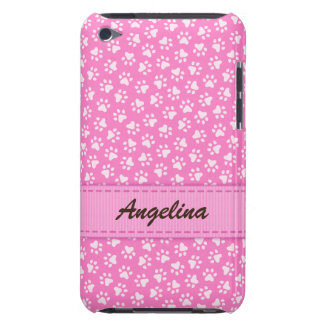 Personalized pink pawprints iPod touch case
