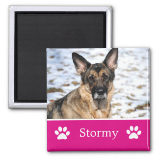 Personalized Pink Pet Photo Magnet