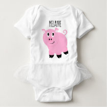 Personalized Pink Pig Baby Animal Piggy Baby Bodysuit