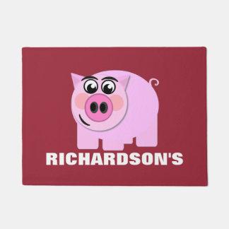 Personalized Pink Piggy Doormat