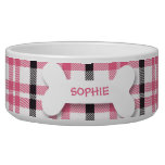 Personalized pink plaid dog bone pet food bowl