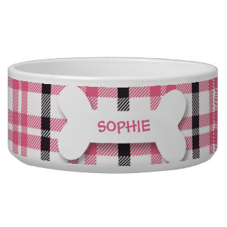 Personalized pink plaid dog bone pet food bowl
