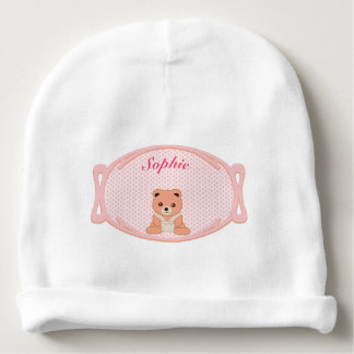 Personalized Pink Polka Dot Baby Bear Baby Beanie