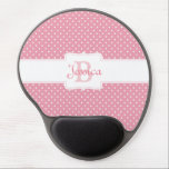 "Personalized Pink Polka Dot Gel Mouse Pad<br><div class=""desc"">Cute and girly gifts and accessories with pink polka dot pattern,  personalized with first name and initial.</div>"
