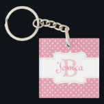 """Personalized Pink Polka Dot Keychain<br><div class=""""desc"""">Cute and girly gifts and accessories with pink polka dot pattern,  personalized with first name and initial.</div>"""