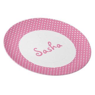 Personalized Pink Polka Dot Kid's Melamine Plate