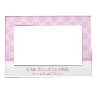 Personalized Pink Polka Dot Magnetic Frame