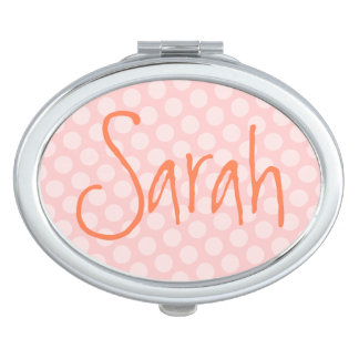 Personalized Pink Polka Dot Mirror For Makeup