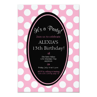Personalized Pink Polka Dot Party Invitation
