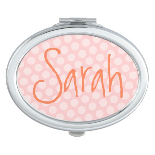 Personalized Pink Polka Dot Travel Mirror
